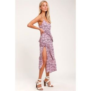 Lulu's Purple Blossom Floral Midi Dress Size S